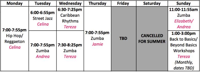 DanZa Summer Schedule