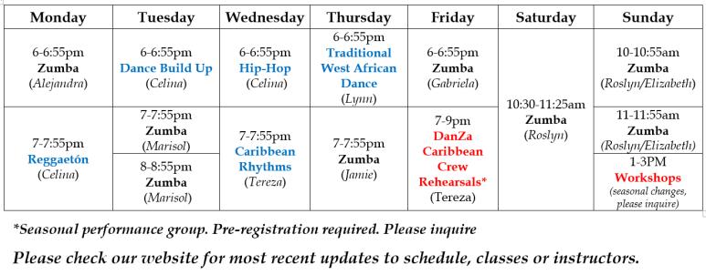 Class Schedule June 2018