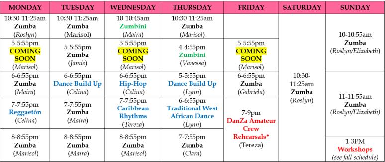 danza class schedule sept 17